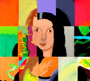 Abstract interpretive collage of the Mona Lisa, a product of Nativity's Class of 2014 under the guidance of A.R.T.S. faculty members Rob Tobin (left) and Andrew Rae.